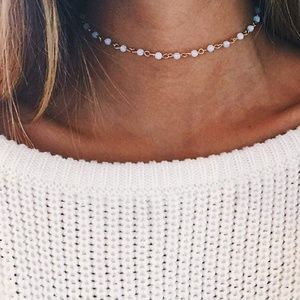 Jewelry - White and Gold Dainty Satellite Choker